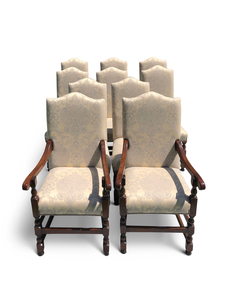 Dining Chairs, Upholstered in Damask Fabric, (10)