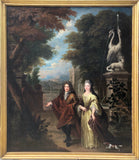 Portrait Oil Painting, Garden Scene, Abraham Temple (att)(c.1622 – 8 October 1672)