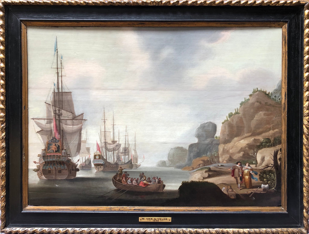 Circle of Adriaen Van Deist Oil Painting,Circle of Adriaen Van Deist, Marine Scene Circa 1680