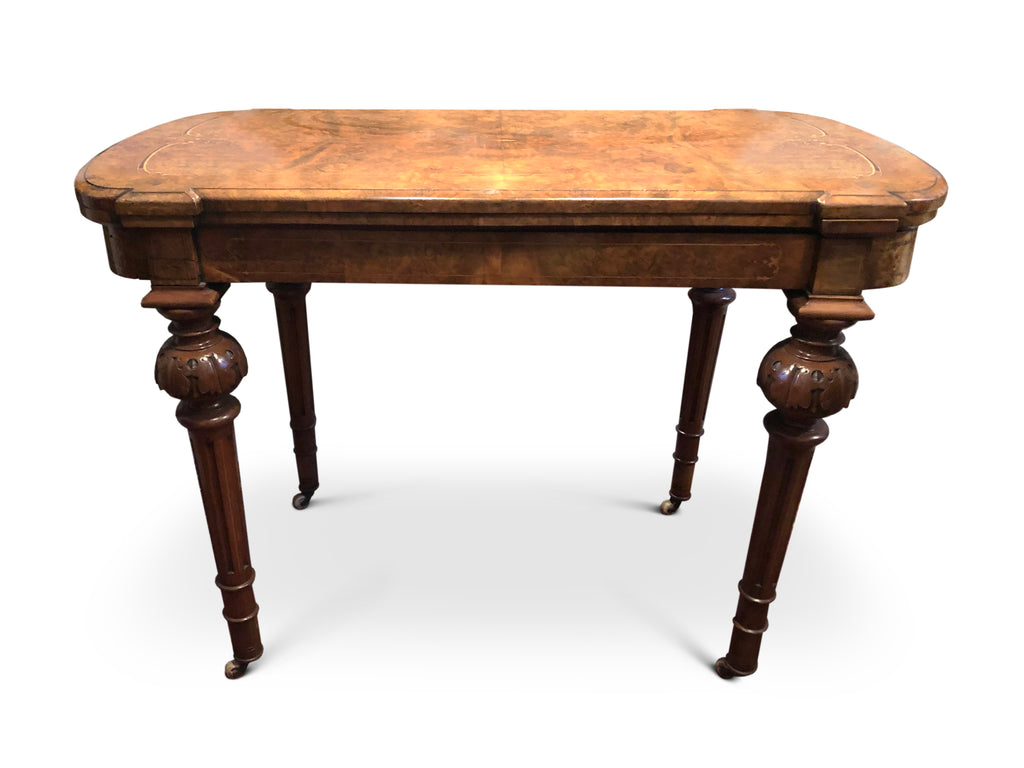 Card Table, Burr Walnut, Inlaid, Victorian Circa 1870