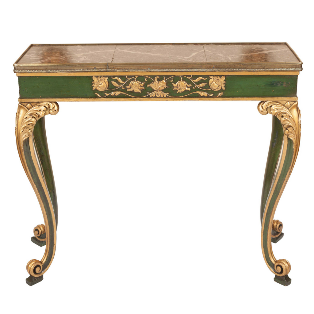 ... Italian Antique Console Or Hall Table Painted In Green And Gold With  Grey Marble Top ...