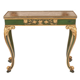 Italian Antique console or hall table painted in green and gold with grey marble top