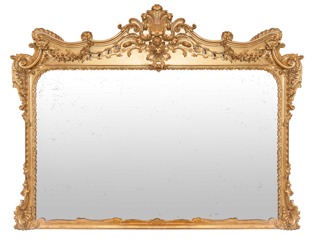 Large 19th Century Ornate Gilt Overmantle Mirror