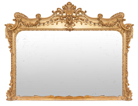 x SOLD : Large 19th Century Ornate Gilt Overmantle Mirror