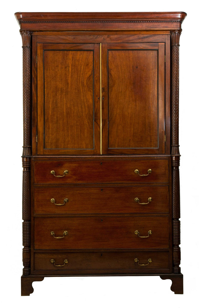Large antique mahogany half length wardrobe over chest of four drawers