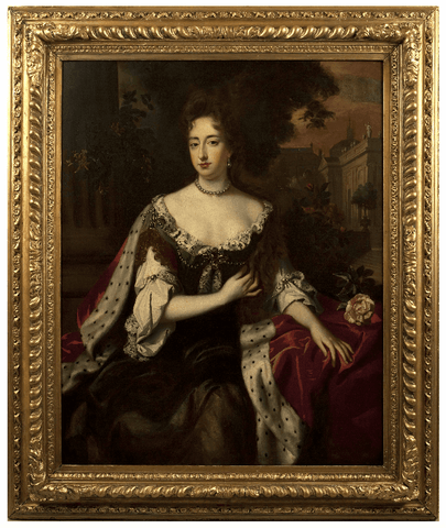 x SOLD : Large Portrait of Queen Mary after Willem (William) Wissing