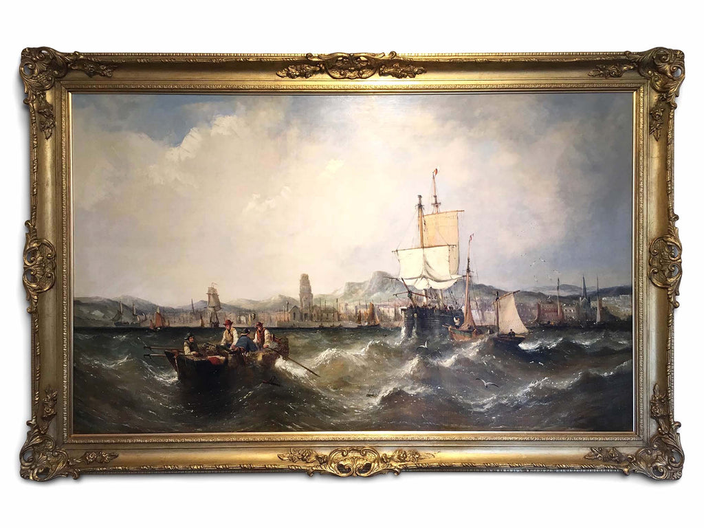 Large 19th Century Marine Oil on Canvas by William Calcott Knell