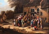 ON SALE: Oil painting Circle of Nicolaes Molenaer (Dutch 1630-1676) Village scene. SALE PRICE: