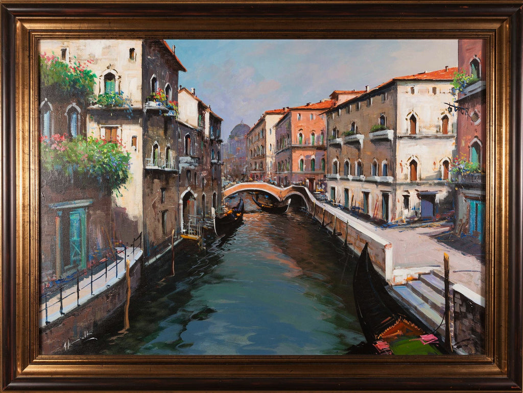 Oil painting of venice canals, venetian scene