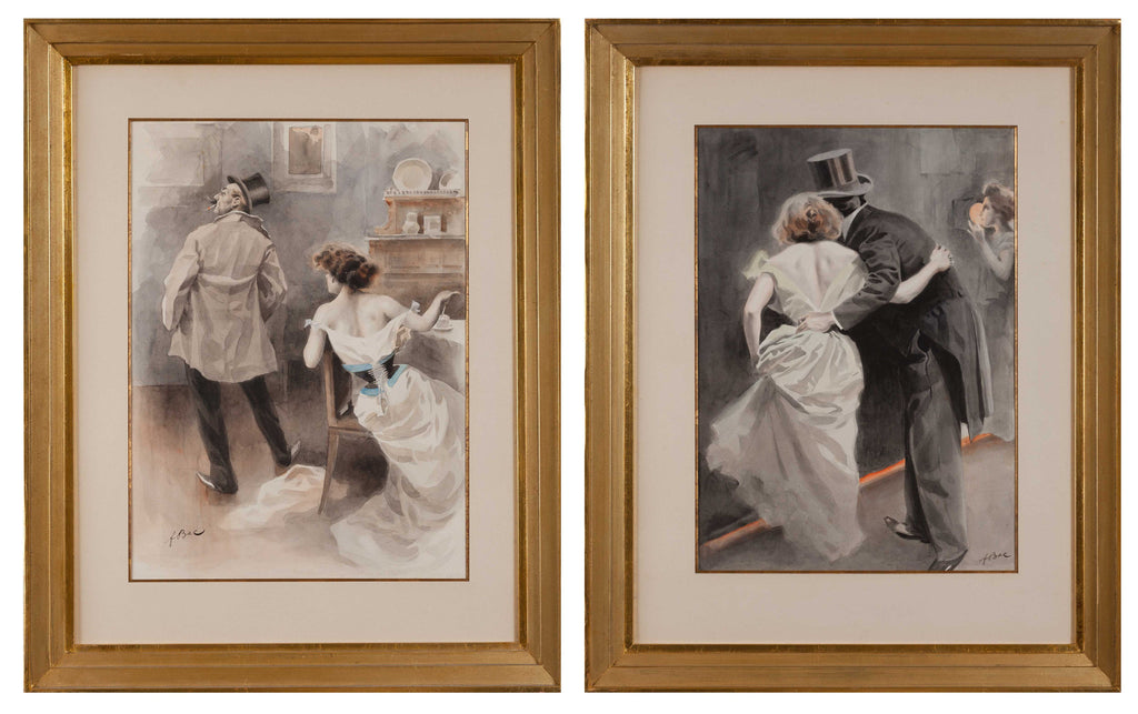 Pair of French 1920's Humorous Watercolours by F. Bac