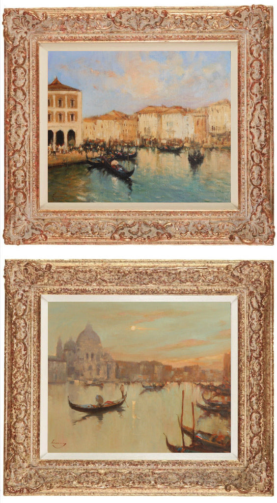 x SOLD : Venetian Scenes; Pair of Oils on Panel by Ken Moroney (British 1949-)