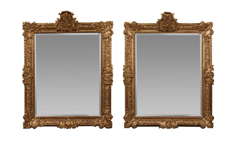 x SOLD : Pair of 18th Century Italian Giltwood Mirrors
