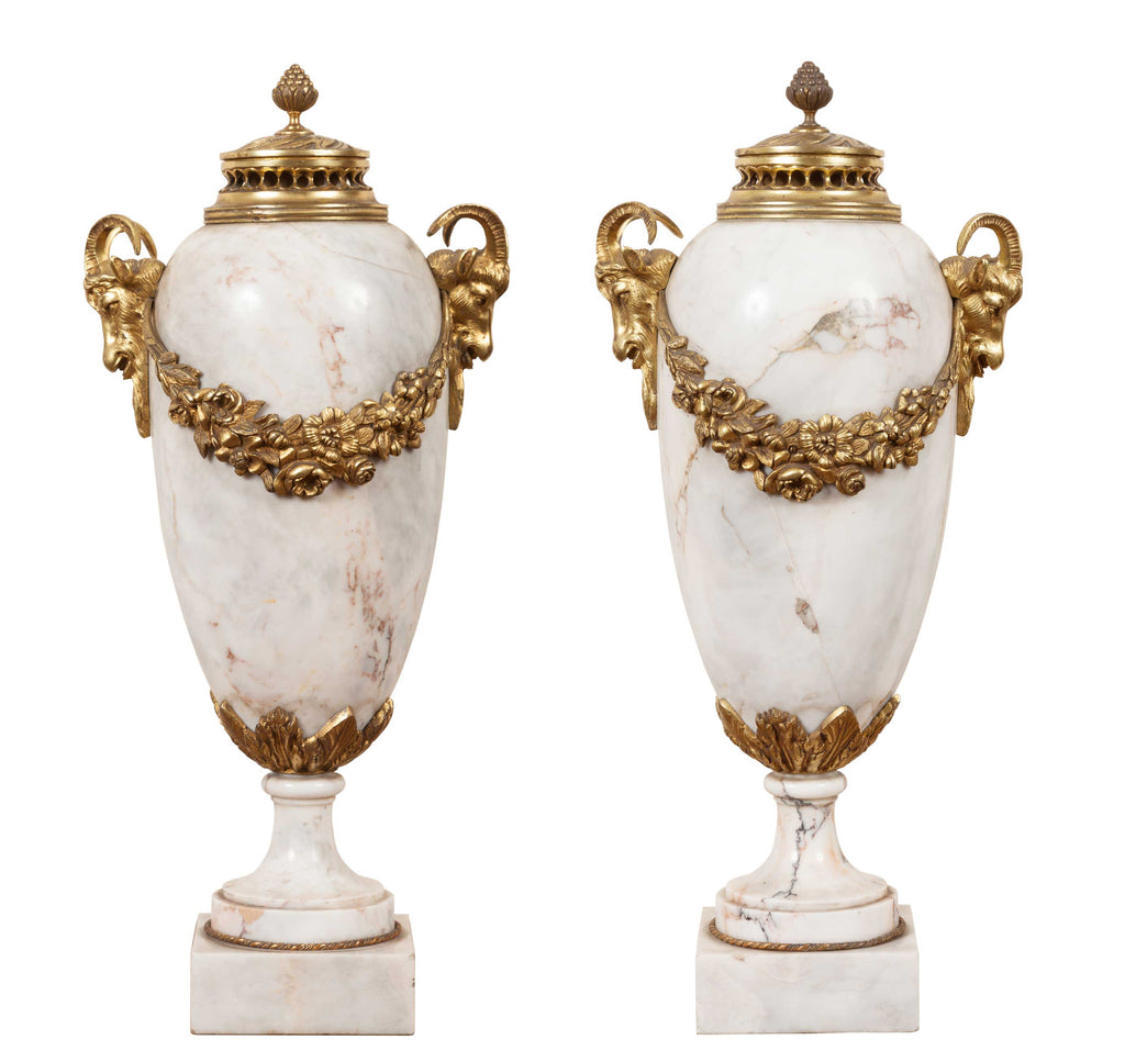 Pair of Decorative Antique Marble Cassolets