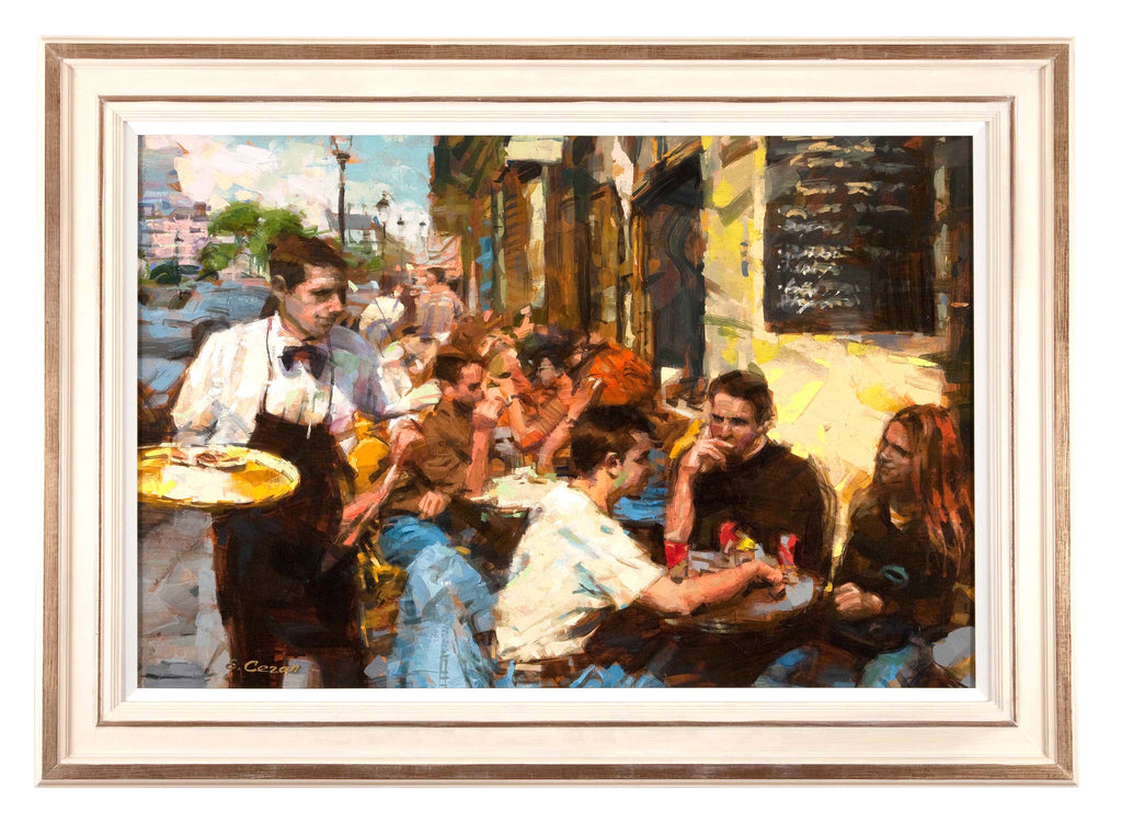 SOLD Oil on Canvas 'Cafe Scene' by Eugene Segal