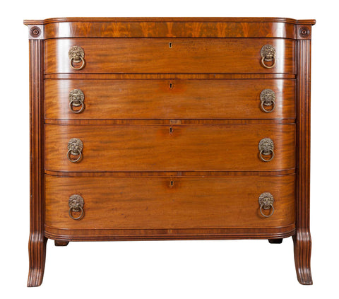 x SOLD : Large Antique Scottish Mahogany D Shaped Chest of Drawers, circa 1810