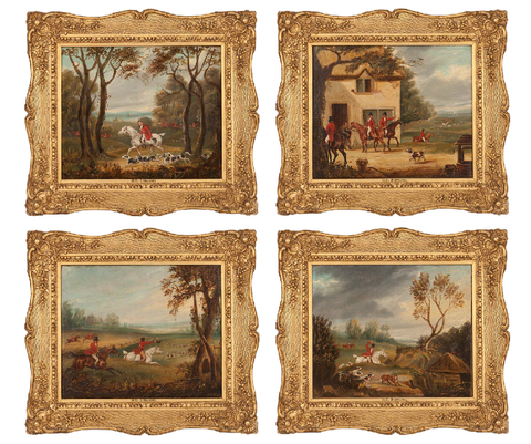 x SOLD : Set of Four Hunting Scenes; Oils on canvas by Devinges