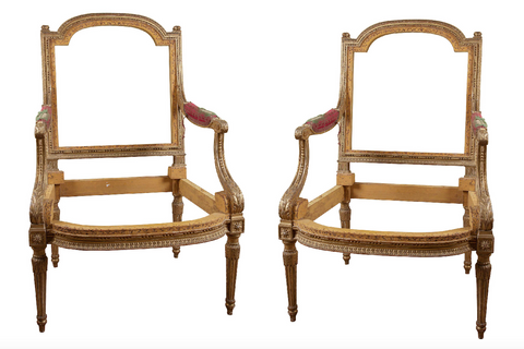 Very Fine Pair of Early 19th Century French Gilded Fauteuils