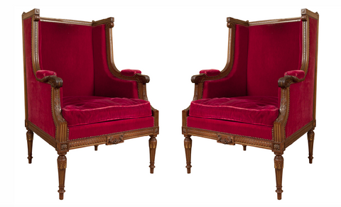Handsome Pair of Late 19th Century French Antique Winged Arm Chairs