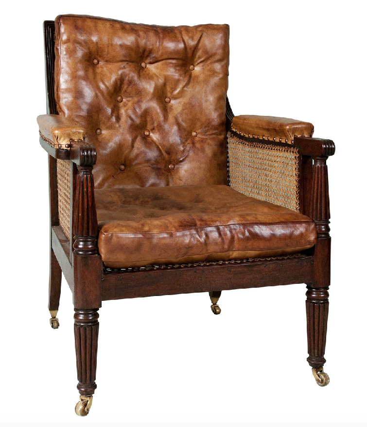 Georgian Mahogany Bergere Library Chair