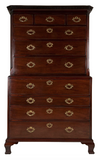 x SOLD : A George II Cuban Mahogany Secretaire Chest on Chest