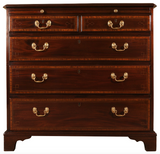 antique mahogany and satinwood chest of three long drawers with two small above