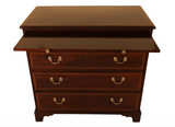 antique mahogany and satinwood chest of drawers showing brush slide