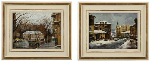 ON SALE - Pair of Continental Winter Street Scenes by Vitaly Petrovsky. SALE PRICE: