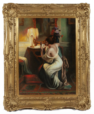 ON SALE - Oil on Canvas 'Lady in Boudoir' by Delphin Enjolras (French 1865-1945). SALE PRICE: