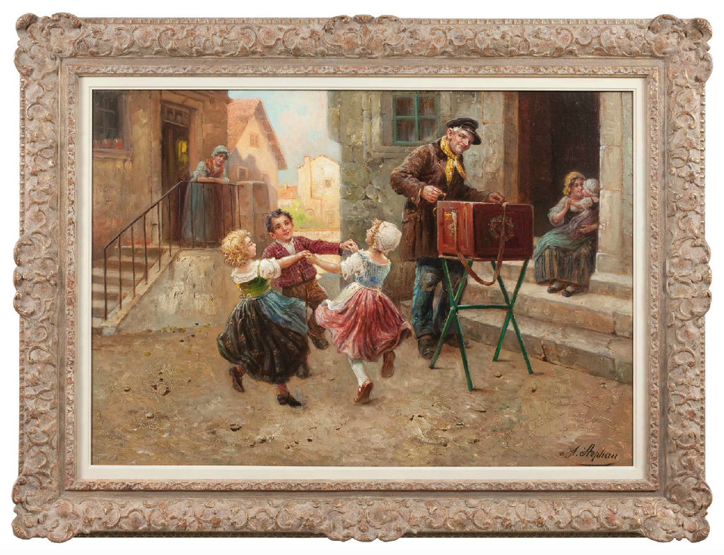 Oil on Canvas 'Dancing Children' by August Stephan (Austrian, 1868-1936)