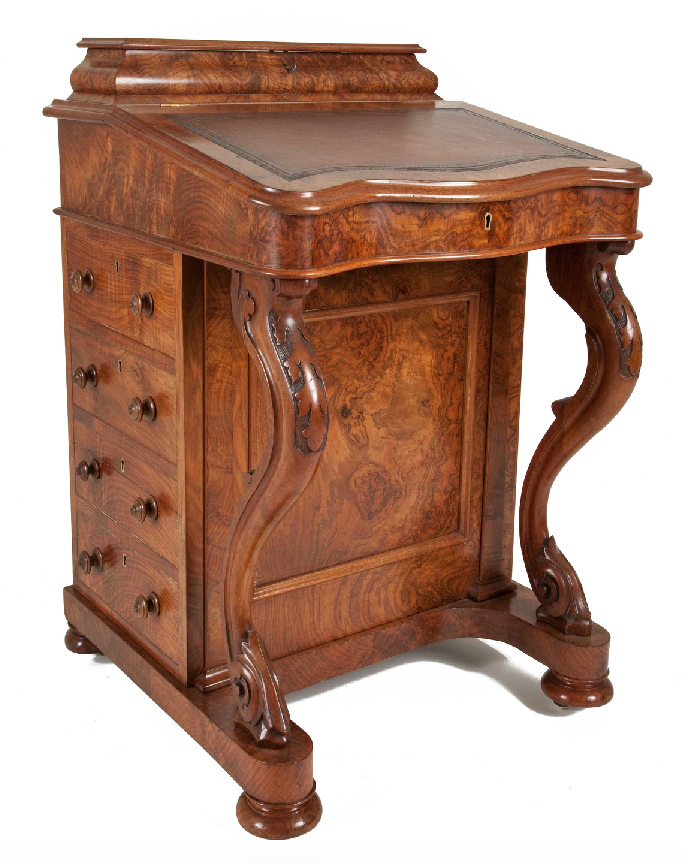 Antique davenport writing desk made of burr walnut - GARNERS ANTIQUES: Antique Desks & Tables For Sale UK – Garners