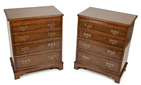 lovely pair of bespoke burr walnut veneered bachelors chests