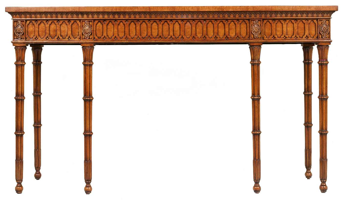 Antique Gothic Style Hall Serving Console Table Carved In Burr Walnut