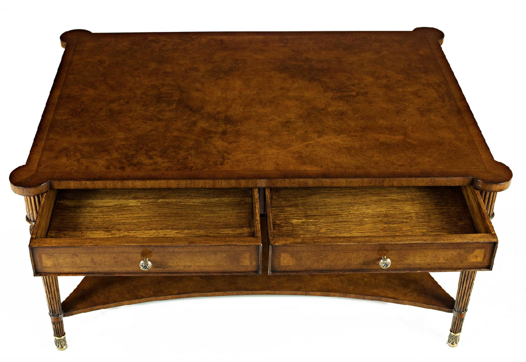antique style walnut coffee table with drawers