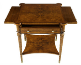 antique style low square walnut lamp table with brush slides