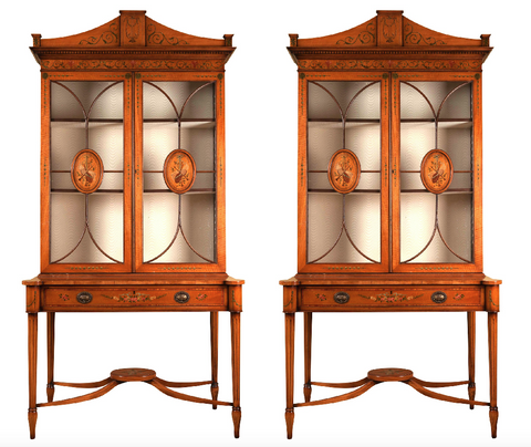 x SOLD : A Fine Pair of Satinwood Hand Painted Sheraton Revival Cabinet on Stands