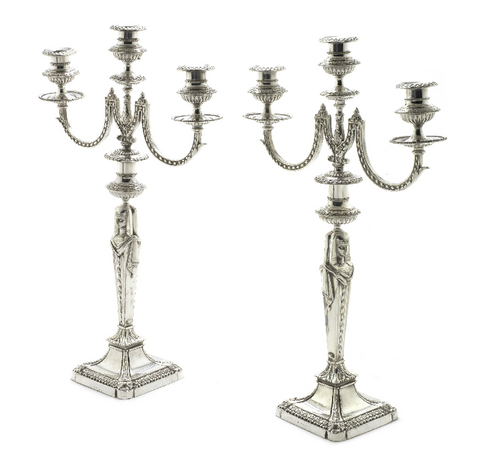 ON SALE - Pair of silver-plated three-light candelabra by Elkington & Co, 1875: SALE PRICE: