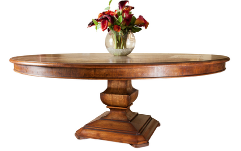 Segmented Handmade Oak & Burr Oak veneered Circular Dining Table