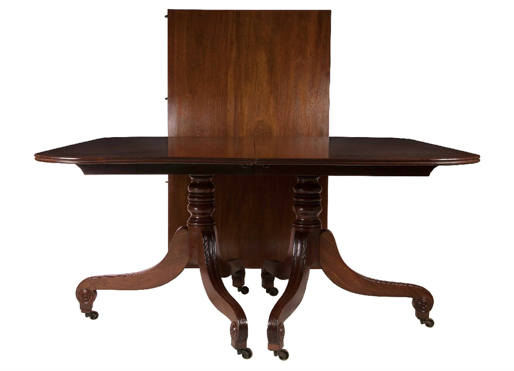 x SOLD : William IV Twin Pedestal Mahogany Dining Table