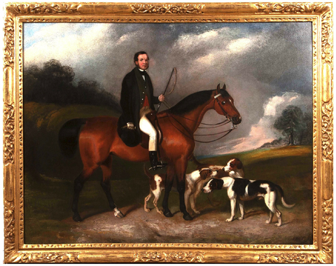 Large Hunting Oil on Canvas; attributed to William Barraud (1810-1850)