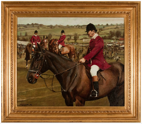x SOLD : Oil on Canvas; Point to Point Guilsborough by Sam Marriott (British 1932-1997)