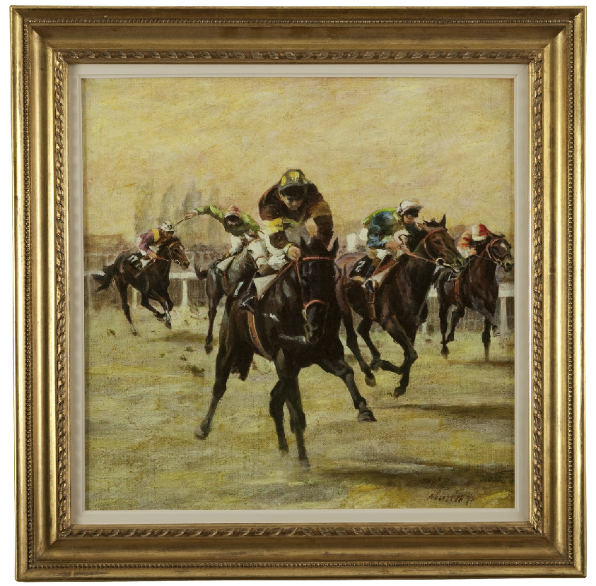 ON SALE - Oil on Canvas; A Racing Scene by Sam Marriott (British 1932-1997). SALE PRICE: