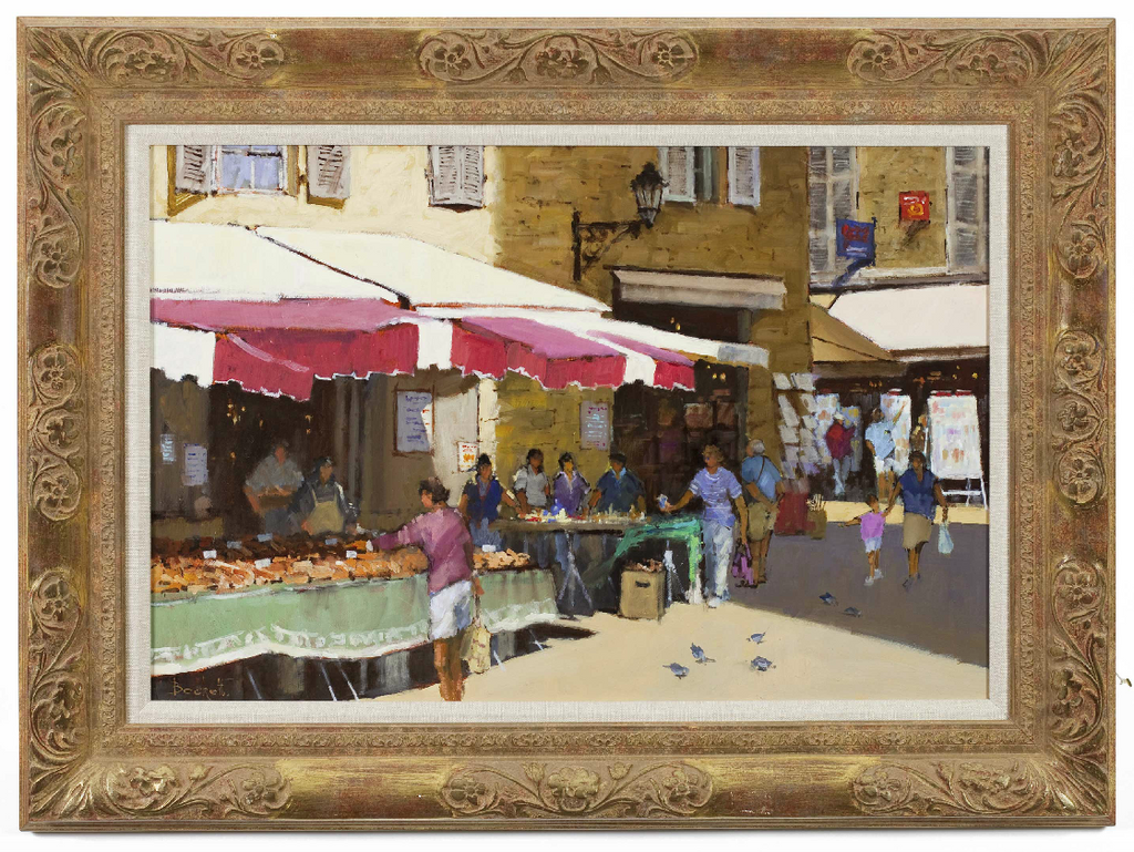 ON SALE: Oil on Canvas; Continental Street Scene by Fred Beckett. SALE PRICE: