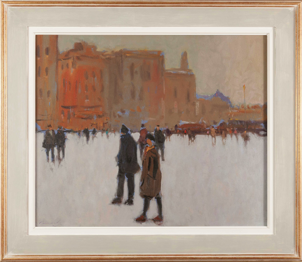 Oil on Canvas; View of Piazza della Signoria in Florence by Ken Moroney (British 1949- )