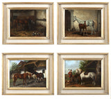 Set of Four Hungarian School Oils on Panel of Horses