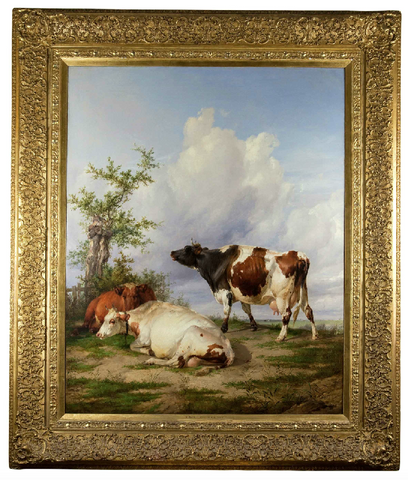 x SOLD : Oil on Canvas by Thomas Sidney Cooper, Cows in Canterbury Landscape
