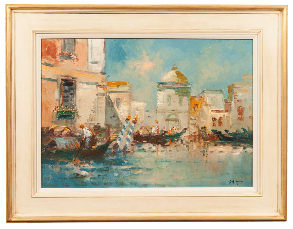 Colourful-oil-painting-of-venice-canal-scene-with-gondolas