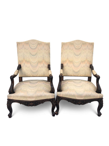 Pair of Walnut Upholstered Gainsborough Armchairs Circa 1920.