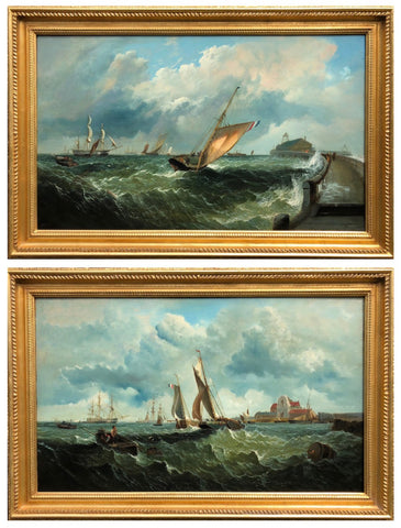 Pair of Large Marine Oils by F Haynes (19th C British) (England, c. 1880)