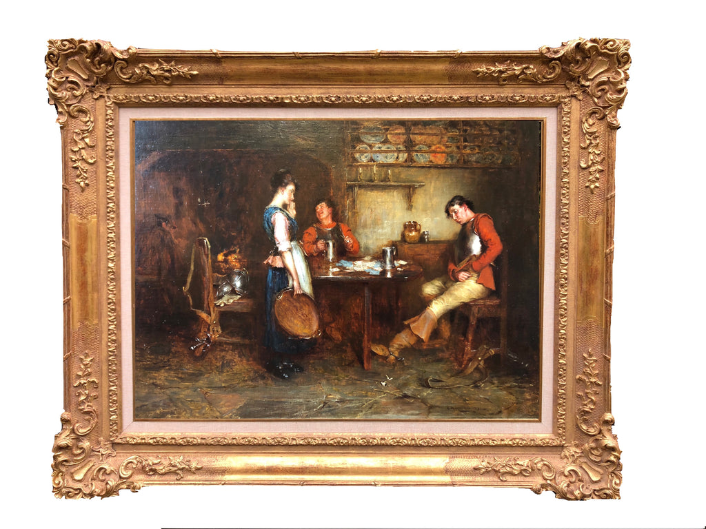 ON SALE - Oil on Panel by Charles Martin Hardie RSA (1858-1916) Interior Scene (Scotland, c. 1891) Sale Price: