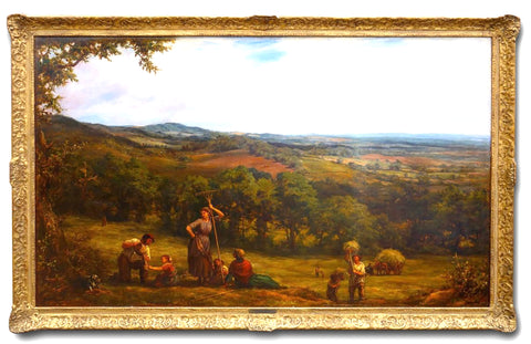 Large 19th Century Landscape 'Harvesting' by Linnell. (England, c. 1877)